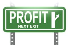 Profit green sign board isolated Stock Illustration