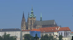 View of the old Saint Vitus Cathedral, Prague Stock Footage
