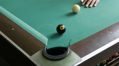The final blow in a game of billiards Stock Footage