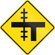 Stock Illustration of New Zealand road sign - Level crossing on uncontrolled T-junction on left