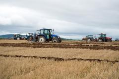 tractors competing in the national ploughing championships - stock photo