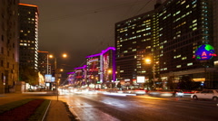 Russia.Moscow - 2015: 4K TL Night traffic on the New Arbat street Stock Footage