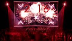fireworks explosion countdown to 2016 stage RED - stock footage