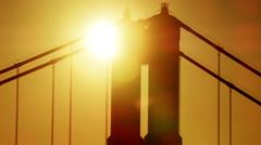 Aerial sunrise view San Francisco California Golden Gate silhouette USA Stock Footage