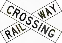 New Zealand road sign PW-14 - Railway crossbuck - stock illustration