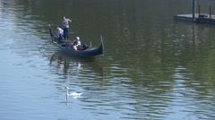 Paddling a gondola on Vltava River, Prague Stock Footage