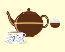 Old fashioned teapot Stock Illustration