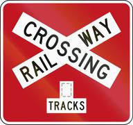 New Zealand road sign PW-14b - Railway crossbuck (multiple tracks) - stock illustration