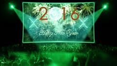 fireworks explosion countdown to 2016 stage GREEN - stock footage