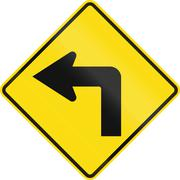 New Zealand road sign PW-16 - Sharp curve 90 degrees to left - stock illustration