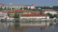 Kafka Museum on Vltava River waterfront in Prague Stock Footage