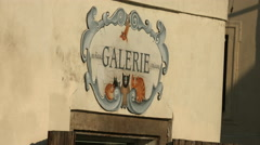 Galerie painting on the wall in Prague Stock Footage