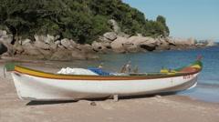 Fishing Boat - Bombinhas/SC - Brazilian Beach (Paradise) 01 Stock Footage