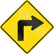 New Zealand road sign PW-16 - Sharp curve 90 degrees to right - stock illustration