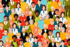 International crowd of people, flat illustration - stock illustration