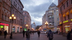 Russia.Moscow - 2015: 4K TL New and Old Arbat Street at night Stock Footage
