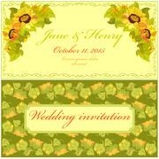 Sunflower Wedding Invitation. Vintage Vector Design. - stock illustration