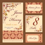 Grapevine Wedding card set. Printable Vector illustration. - stock illustration