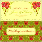 Stock Illustration of Poppy flower Wedding Invitation. Vintage Elegant Design.