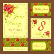 Poppy flower Wedding card set. Vintage Vector illustration. - stock illustration