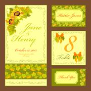 Sunflower Wedding card set. Printable Vector illustration. - stock illustration