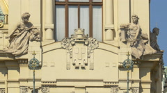 Three statues on the Municipal House in Prague Stock Footage