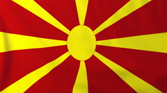 Flag of Macedonia waving in the wind, seemless loop animation - stock footage