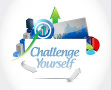 Stock Illustration of Challenge Yourself business graph sign concept