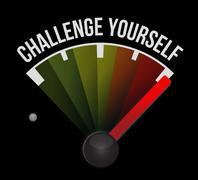 Stock Illustration of Challenge Yourself meter sign concept