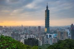 Taipei skyline at sunset in Taiwan - stock photo
