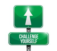 Stock Illustration of Challenge Yourself street sign concept