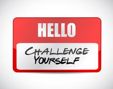 Stock Illustration of Challenge Yourself name tag sign concept