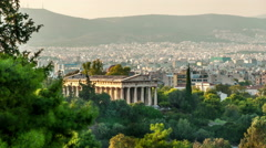 Stock Video Footage of Athens panorama with temple of Hephaestus in the foreground