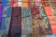 Thai textile hanging for sale - stock photo