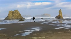 Photographer on the Pacific coast Stock Footage