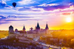 Castle in Kamianets-Podilskyi and  air balloon Stock Photos