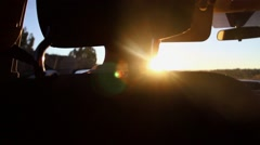 Lens Flare, Setting Sun through Windshield While Driving Stock Footage