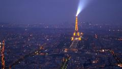 Paris, aerial view of the Eiffel tower at night - stock footage