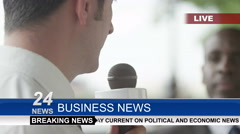 Stock Video Footage of 4k News reporter interviewing business people or politicians outdoors in the cit