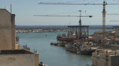 Tower crane at the port Stock Footage