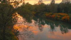 4K Aerial: Reveal Autumn River at Dusk Stock Footage
