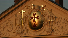 The Knights Hospitaller symbol on a building in Prague Stock Footage