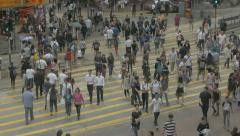 People crossing street in Wan Chai, Hong Kong. Flat picture profile. Stock Footage