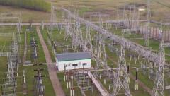 overfly powerful power substation - stock footage