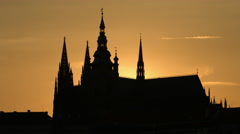 St Vitus Cathedral towers at sunset in Prague Stock Footage