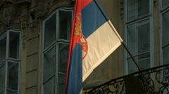 Serbian flag in Prague Stock Footage