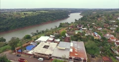 Aerial - Tancredo Neves Bridge (Fraternity Bridge) Brazil - Argentina 01 Stock Footage