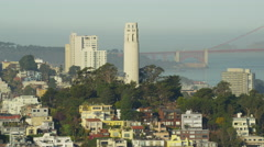 Aerial San Francisco California USA Coit Tower Telegraph Hill Stock Footage