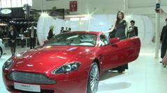 Aston Martin V8 Vantage car, China auto show Stock Footage