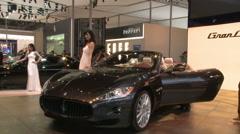 Maserati GranCabrio sports car, Auto Show Stock Footage